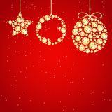 Christmas decoration of sparkling precious gems. Golden shining diamonds, star and circle shape. For New Year and xmas design stock illustration