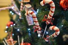Christmas decoration with sparkling sugar sticks royalty free stock photo