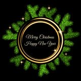 Christmas decoration  with spruce branch, golden flash and gold. Neon circle on black  background. Green fir wreath. Vector template  for Xmas cards, banners Stock Photography