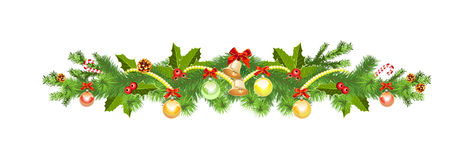 Christmas decoration with spruce tree Royalty Free Stock Images