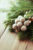 Christmas decoration with  spruce twigs Stock Photo