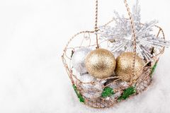 Christmas decoration on the snow. Royalty Free Stock Photos