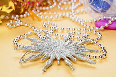 Christmas decoration star and beads Stock Images