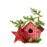 Christmas Decoration (star,birdhouse, a branch of spruce)  isola Stock Image