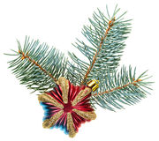 Christmas decoration star on fir branch Royalty Free Stock Photo