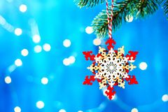Christmas decoration star on the tree christmas background. Christmas decoration on the tree, christmas background stock image