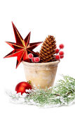 Christmas decoration (stars,pine cone, baubles, old pot)  isolat Stock Photo
