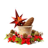 Christmas decoration (stars,pine cone, old pot and Christmas wre Royalty Free Stock Image