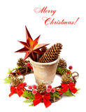 Christmas decoration (stars,pine cone, old pot and Christmas wre Stock Images
