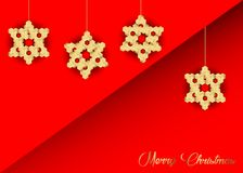 Christmas decoration with stars of wood, gold Merry Christmas, red background, greeting card.  Stock Photography