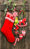 Christmas decoration stocking and handmade toys Stock Photo