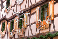 Christmas decoration in Strasbourg. STRASBOURG, FRANCE - DECEMBER 29 2015: Christmas decoration in medieval city of Strasbourg which is considered as a Capital Stock Photography