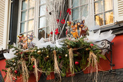 Christmas decoration in Strasbourg. STRASBOURG, FRANCE - DECEMBER 29 2015: Christmas decoration in medieval city of Strasbourg which is considered as a Capital Stock Images