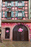 Christmas decoration in Strasbourg. STRASBOURG, FRANCE - DECEMBER 29 2015: Christmas decoration in medieval city of Strasbourg which is considered as a Capital Stock Image