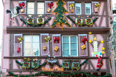 Christmas decoration in Strasbourg. STRASBOURG, FRANCE - DECEMBER 29 2015: Christmas decoration with  in medieval city of Strasbourg which is considered as a Royalty Free Stock Photo