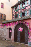 Christmas decoration in Strasbourg. STRASBOURG, FRANCE - DECEMBER 29 2015: Christmas decoration in medieval city of Strasbourg which is considered as a Capital Stock Photo