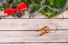 Christmas decoration with a straw goat Stock Photo