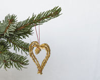 Christmas decoration straw heart on silver spruce tree branch on Stock Images