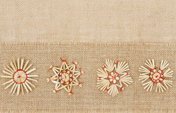 Christmas Decoration, Straw Star Snowflake, Decorative Sackcloth Stock Photo