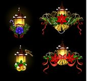 Christmas decoration with street light. Christmas decoration set with street light and evergreen trees and golden bells with red bow and Cardinal and sparrow Royalty Free Stock Image