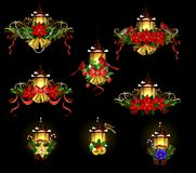 Christmas decoration with street light. Christmas decoration set with street light and evergreen trees and golden bells with red bow and Cardinal and sparrow Stock Images