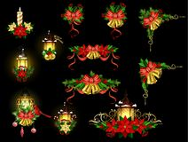 Christmas decoration with street light. Christmas decoration set with street light and evergreen trees and golden bells with red bow and Cardinal and sparrow Stock Image