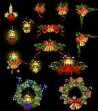 Christmas decoration with street light. Christmas decoration set with street light and evergreen trees and golden bells with red bow and Cardinal and sparrow Stock Photography