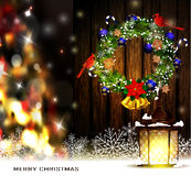 Christmas decoration with street lights Royalty Free Stock Image