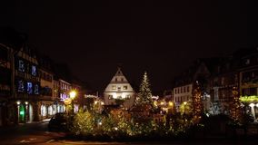 Christmas decoration on the street of little french town stock footage