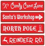 Christmas Decoration Street Signs Candy Cane Santas Workshop North Pole Reindeer Rudolf. Christmas Decorative Signs Candy Cane Santa`s Workshop North Pole stock illustration
