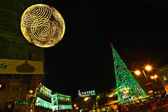 Christmas decoration in the streets of Madrid Stock Photos