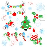 Christmas decoration with a stylized christmas tree stock illustration