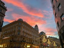 christmas decoration at sunset in vienna royalty free stock photo