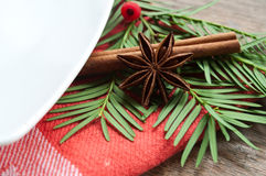 Christmas decoration on table. Closeup of christmas decoration on table Stock Photo