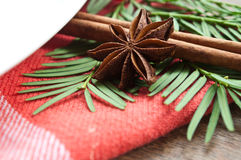Christmas decoration on table. Closeup of christmas decoration on table Stock Image