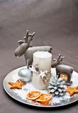 Christmas decoration. Christmas table decoration with reindeer Stock Photo
