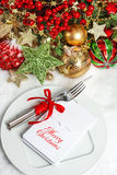 Christmas decoration. Table setting with shiny baubles Royalty Free Stock Photo