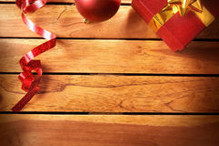 Christmas decoration on a table wooden slats top Stock Images