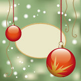 Christmas decoration tag. Christmas motif with red glossy christmas baubles Stock Photo
