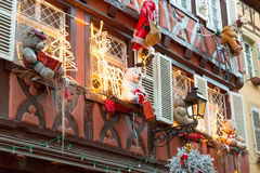Christmas decoration with teddy bear in Strasbourg Stock Images