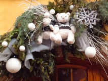 Christmas decoration with teddy bear in Strasbourg. STRASBOURG, FRANCE - DECEMBER 29 2015: Christmas decoration with teddy bear in medieval city of Strasbourg Stock Photos