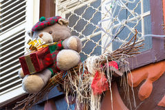 Christmas decoration with teddy bear in Strasbourg. STRASBOURG, FRANCE - DECEMBER 29 2015: Christmas decoration with teddy bear in medieval city of Strasbourg Royalty Free Stock Image