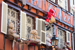 Christmas decoration with teddy bear in Strasbourg. STRASBOURG, FRANCE - DECEMBER 29 2015: Christmas decoration with teddy bear in medieval city of Strasbourg Royalty Free Stock Images