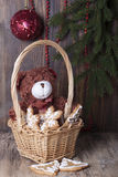 Christmas decoration with teddy bears in a basket Stock Photos