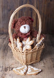 Christmas decoration with teddy bears in a basket Royalty Free Stock Image
