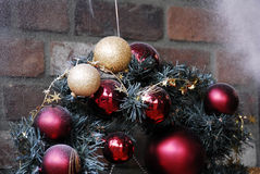 Christmas Decoration Textured Baubles. Red and White colored Christmas Decoration Baubles with texture on a christmas tree Royalty Free Stock Image
