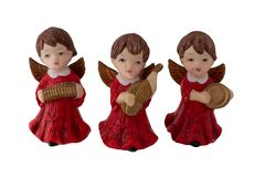 Christmas decoration. Three beautiful old Christmas angels made royalty free stock photo