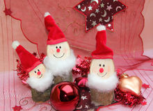 Christmas decoration with three gnomes Stock Photos