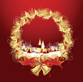 Christmas decoration with a town in red color. Stock Photo