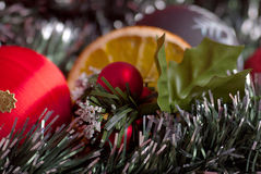Christmas decoration. Christmas traditional decoration with orange Royalty Free Stock Photo